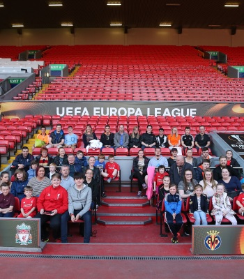 """LIVERPOOL, ENGLAND - MAY 04: Fedex mascots take part in a pre-match stadium tour at Anfield on May 4, 2016 in Liverpool, England. (Photo by Chris Brunskill/Getty Images for Fedex)"""