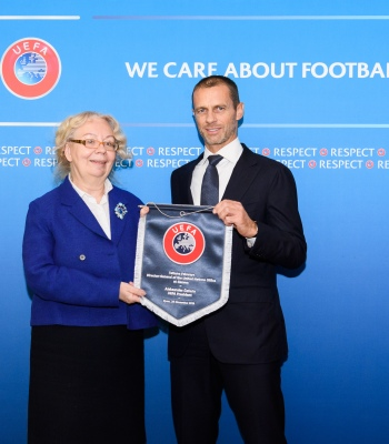 NYON, SWITZERLAND - NOVEMBER 20:  United Nations Office at Geneva (UNOG) Director-General Tatiana Valovaya and UEFA President Aleksander Ceferin meet at the UEFA headquarters, the House of European Football on November 20, 2019 in Nyon, Switzerland. (Photo by Harold Cunningham - UEFA/UEFA via Getty Images)